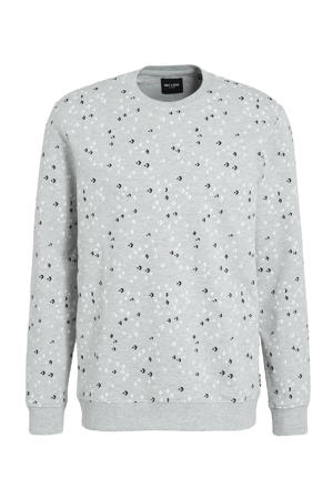 sweater Fletch met all over print grijs