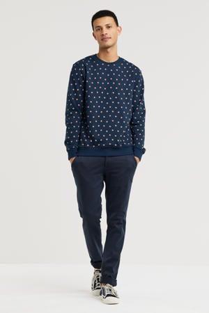 sweater Flossie met all over print donkerblauw
