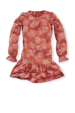 jersey jurk Janneke met all over print donker oranje/lichtroze