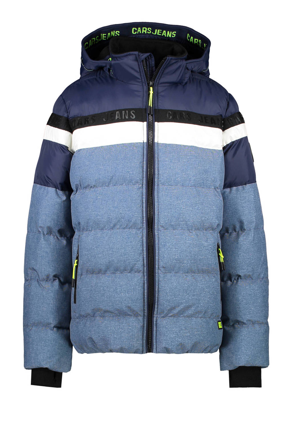 Cars gewatteerde winterjas Byram lichtblauw/donkerblauw/wit, Lichtblauw/donkerblauw/wit