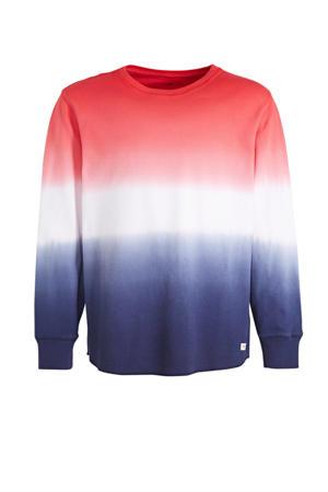 dip-dye sweater rood/wit/bauw
