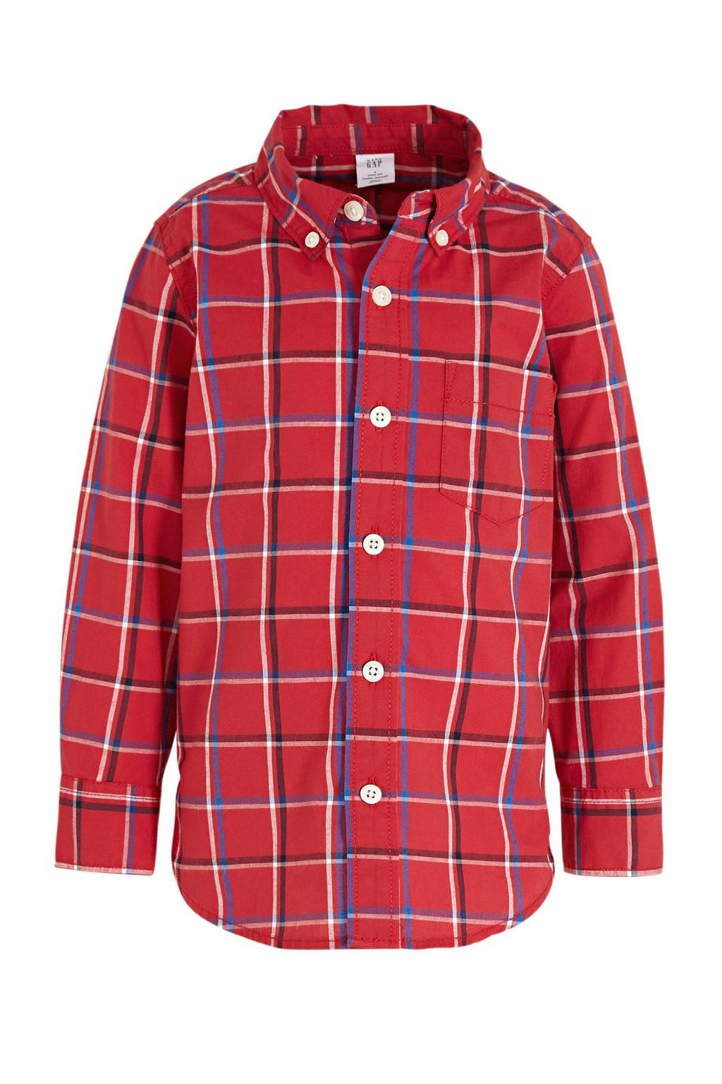 GAP geruit overhemd Poplin rood, Rood