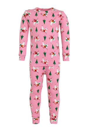 baby pyjama met all over print roze