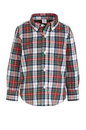 geruit overhemd Poplin groen/rood/wit