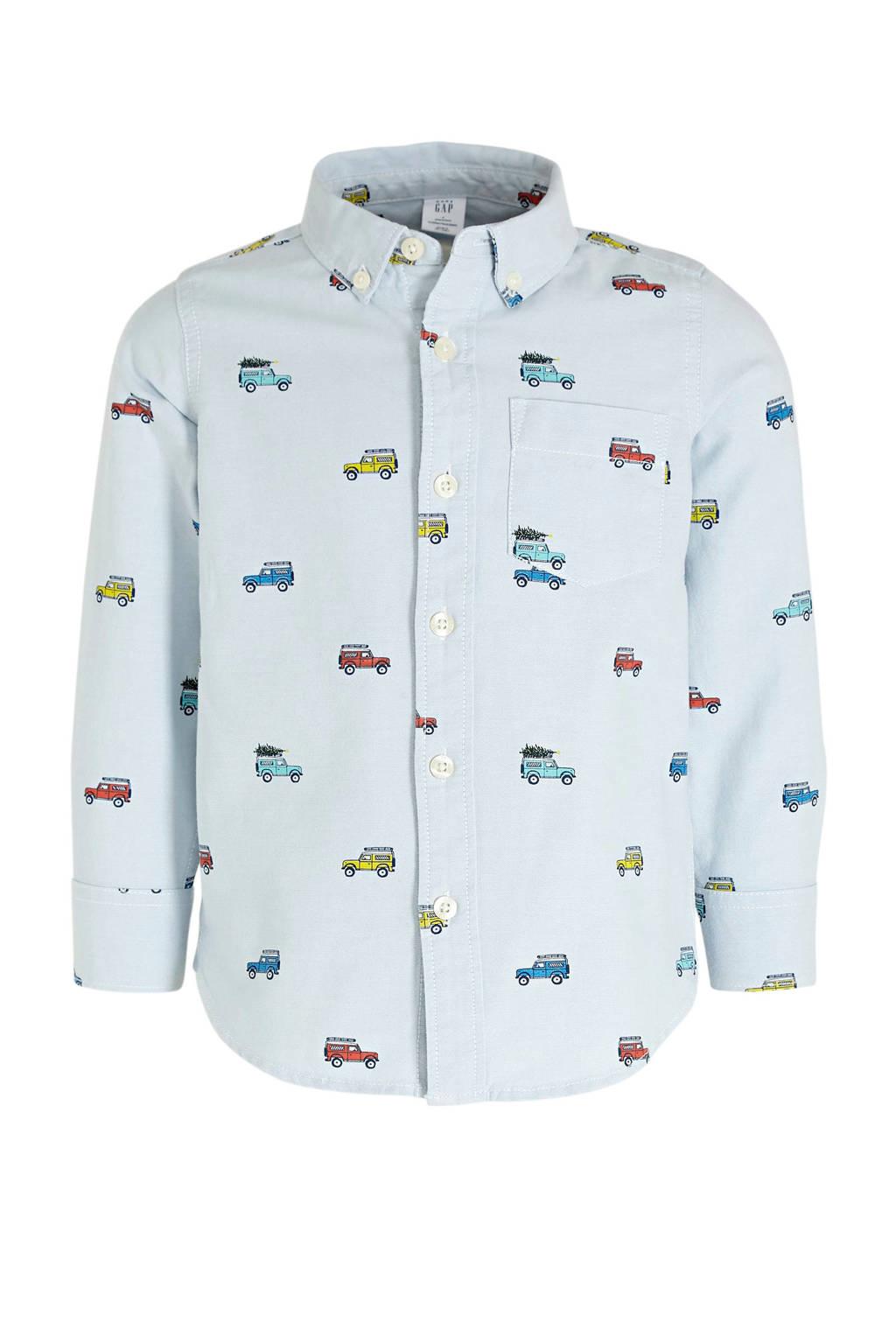 GAP overhemd Oxford met all over print lichtblauw, Lichtblauw