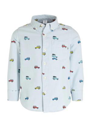 overhemd Oxford met all over print lichtblauw