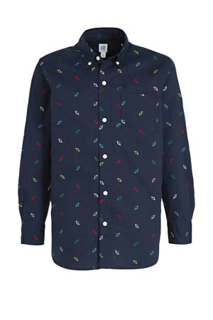 overhemd met all over print donkerblauw