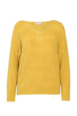 gebreide kabeltrui met wol geel