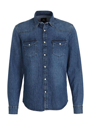 regular fit denim overhemd blauw