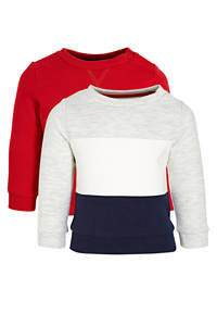 C&A Baby Club sweater - set van 2 rood/wit/donkerblauw, Rood/donkerblauw/wit