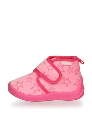 pantoffels met sterrendessin Velcro roze/donkerroze