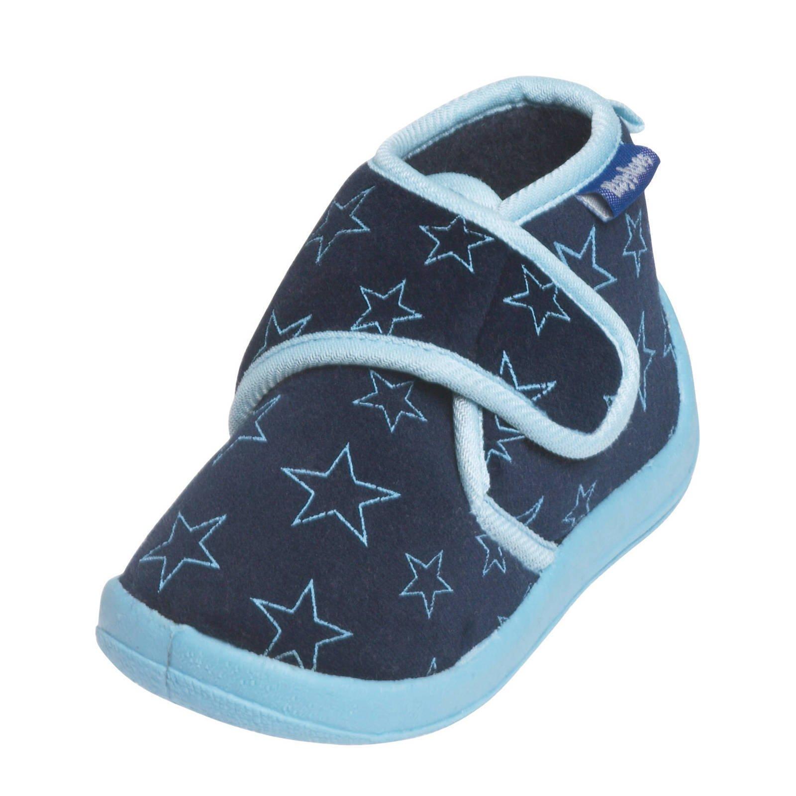Playshoes pantoffels met sterrendessin Velcro donkerblauw/lichtblauw online kopen