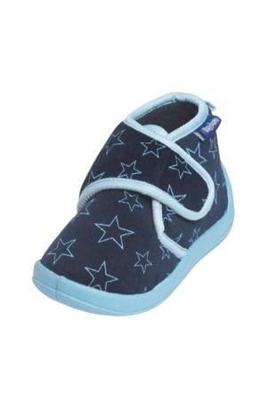pantoffels met sterrendessin Velcro donkerblauw/lichtblauw