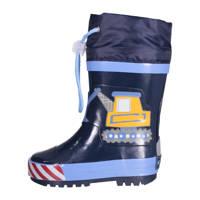 Playshoes Construction  regenlaarzen met print donkerblauw, Donkerblauw/lichtblauw