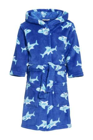 fleece badjas Shark met haai dessin blauw/lichtblauw