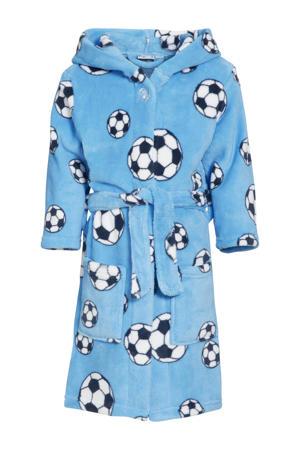 fleece badjas Soccer met voetbal dessin lichtblauw