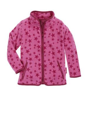 fleece vest Stars met sterren roze/fuchsia