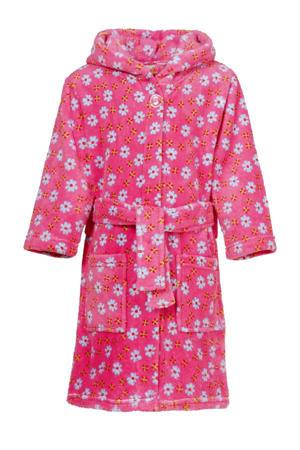 fleece badjas Flowers met bloemen dessin roze/lichtblauw