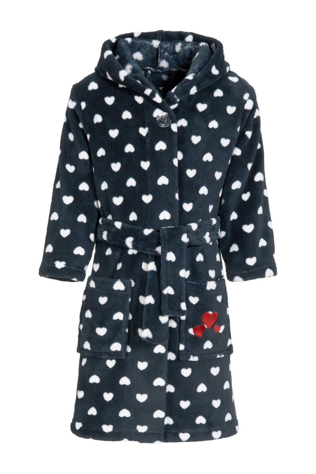 Playshoes fleece badjas Hearts met hartjes donkerblauw/wit, Donkerblauw/wit