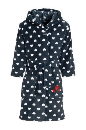 fleece badjas Hearts met hartjes donkerblauw/wit