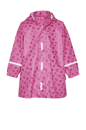 regenjas Sweethearts met all over print roze/donkerroze