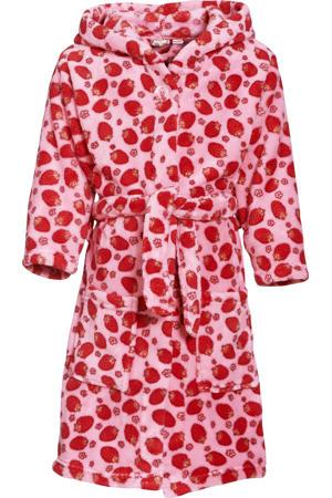 fleece badjas Strawberries met aardbei dessin roze/rood