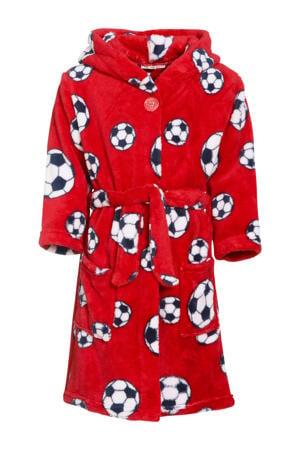 fleece badjas Socces met voetbal dessin rood
