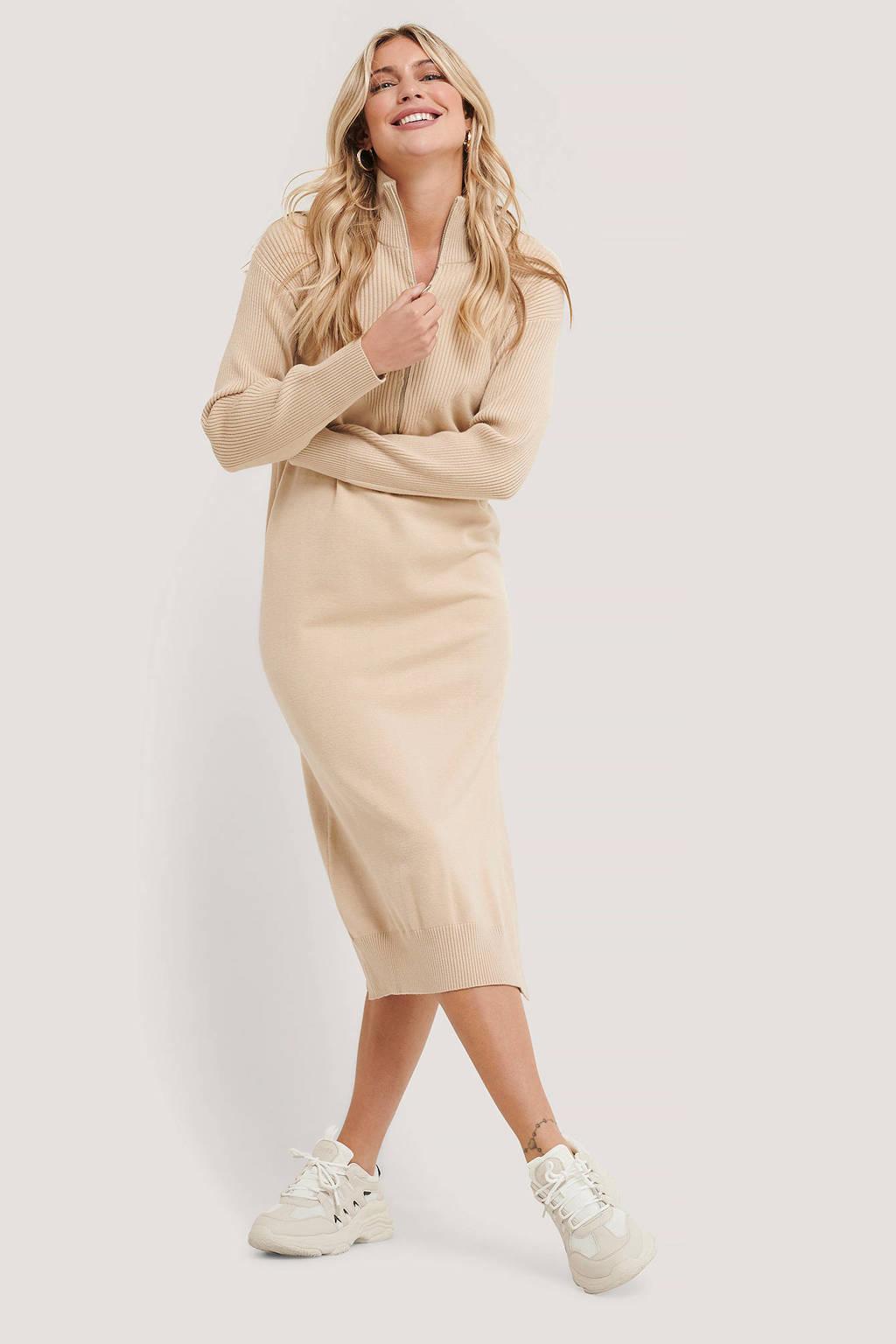 NA-KD ribgebreide jurk beige, Beige