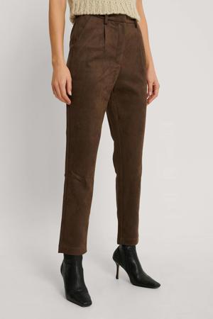 high waist regular fit broek bruin