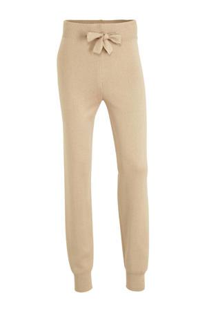 high waist tapered fit joggingbroek met textuur beige