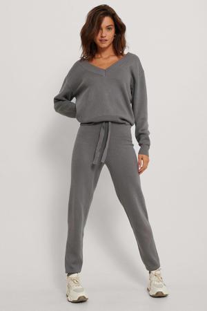 high waist tapered fit joggingbroek met textuur grijs