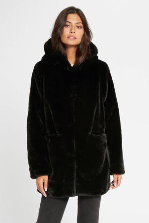 imitatiebont winterjas zwart