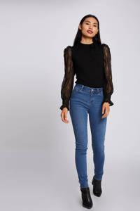 Morgan semi-transparante kanten trui met kant zwart, Zwart