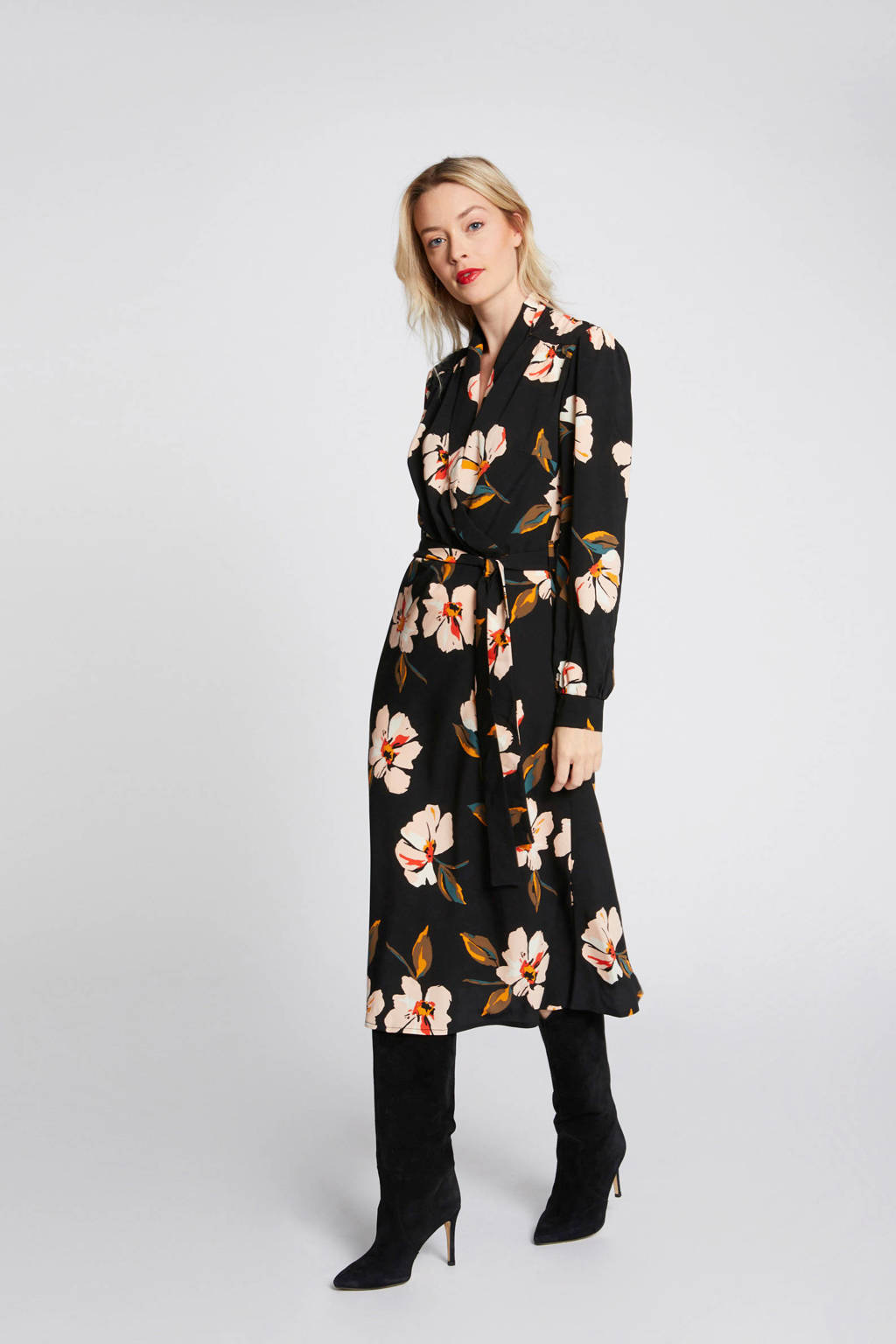 Morgan gebloemde blousejurk zwart/lichtorze/oranje, Zwart/lichtorze/oranje