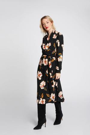 gebloemde blousejurk zwart/lichtorze/oranje