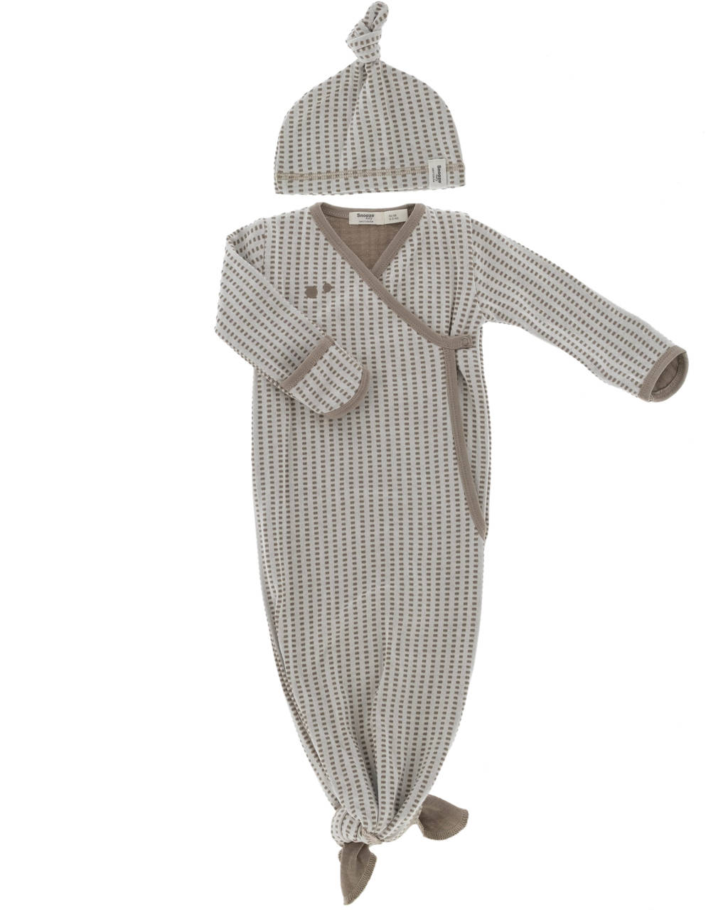 Snoozebaby baby knoopslaapzak + mutsje 0-3 mnd Warm Brown, Bruin/lichtbruin, 0-3 maand