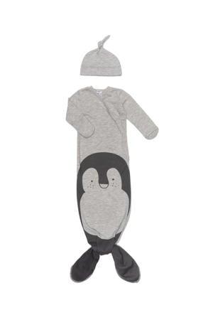 baby knoopslaapzak + mutsje 0-3 mnd Grey melange Pinguin