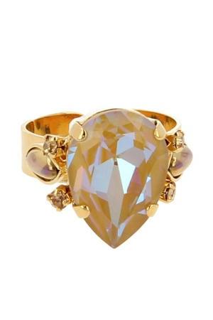 ring met Swarovski Kristallen Orchid