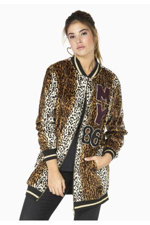jasje met dierenprint en glitters bruin/zwart/wit