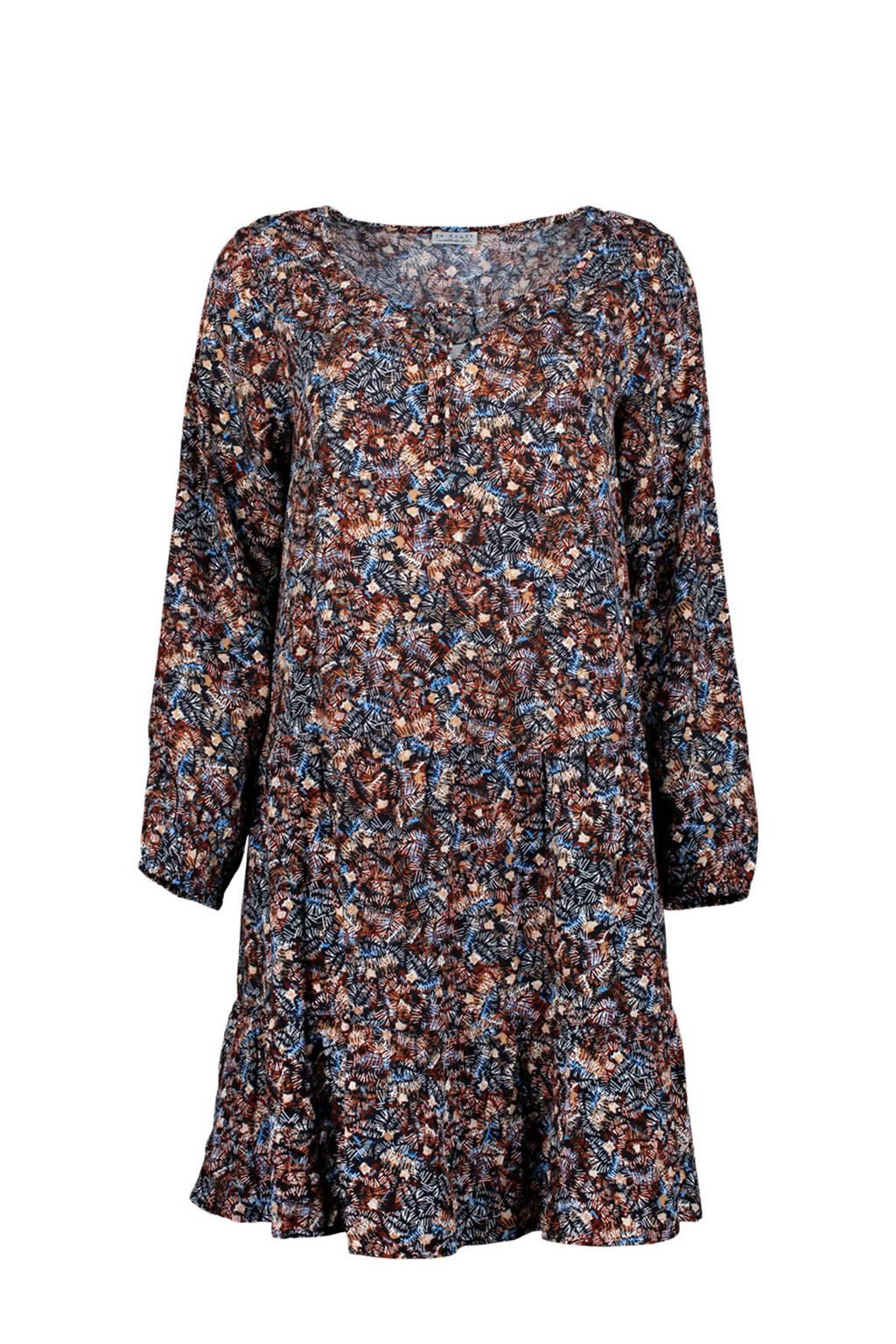 Re-Draft A-lijn jurk met all over print en volant zwart/blauw/donkerrood, Zwart/blauw/donkerrood