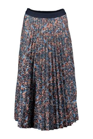 plissé rok met all over print donkerblauw/blauw/rood
