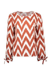 Re-Draft top met all over print wit/roodbruin, Wit/Roodbruin