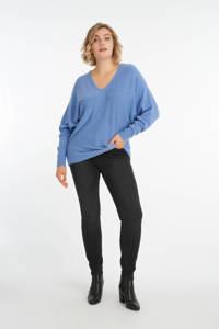 MS Mode fijngebreide trui met vleermuismouwen blauw, Blauw
