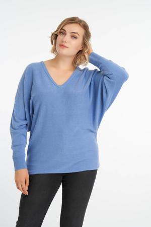 fijngebreide trui met vleermuismouwen blauw