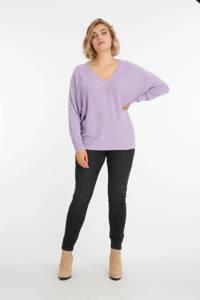 MS Mode fijngebreide trui met vleermuismouwen lila, Lila