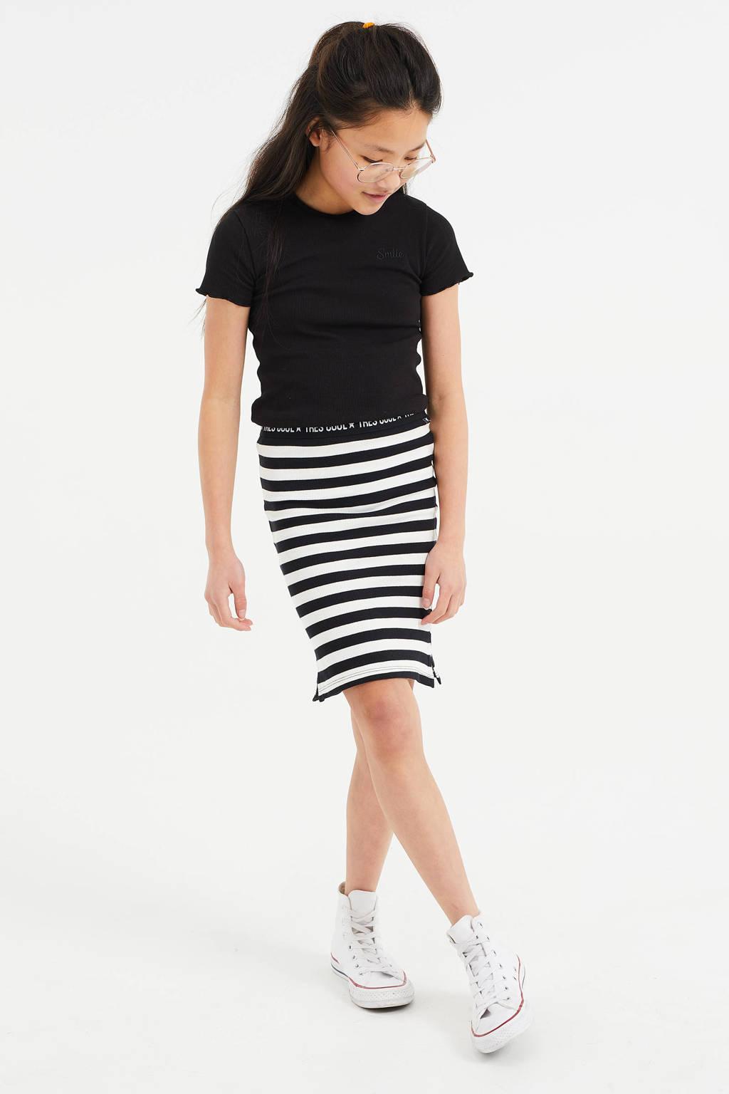 WE Fashion gestreepte ribgebreide rok zwart/wit, Zwart/wit