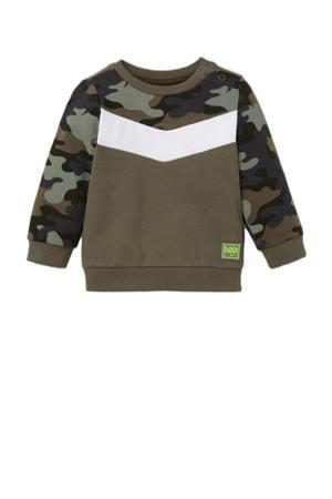 sweater met camouflageprint olijfgroen/wit