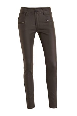 coated skinny broek bruin