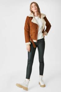 C&A Yessica coated skinny broek donkergroen, Donkergroen