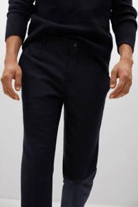 Mango Man slim fit broek met wol en pied-de-poule marine, Marine